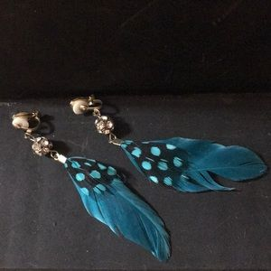 Vintage handmade feather earrings